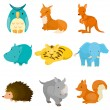 Cartoon zoo animal icons — Stock Vector