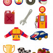 Stockvektor : Cartoon f1 car racing icon set