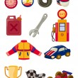Cartoon f1 car racing icon set — Imagen vectorial