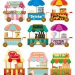 Cartoon market store car icon collection — Stock Vector