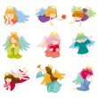 Cartoon Angel icon set — Stock Vector