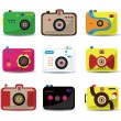 Cartoon camera icon set - Stockvectorbeeld