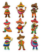 Cartoon Mexican icon set — Stock Vector