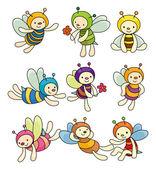 Cartoon bee boy icon set — Stock Vector