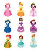 Cartoon beautiful princess icons set — Stock Vector