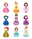 çizgi film güzel prenses icons setcartoon mooie prinses pictogrammen instellen — Stockvector