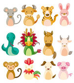 12 animal icon set,Chinese Zodiac animal , — Wektor stockowy