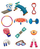 Cartoon Fitness Equipment icons — Stock Vector
