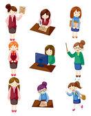 Cartoon pretty office woman worker icon set — Stock Vector