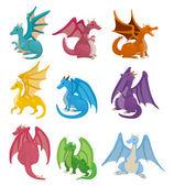 Karikatür yangın dragon icon set — Stok Vektör