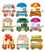 Coleção ícone dos desenhos animados mercado loja de carro — Vetorial Stock