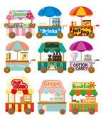 Colección de iconos de dibujos animados mercado tienda auto — Vector de stock
