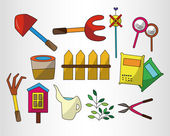 Cartoon Gardening icon set — Stock Vector