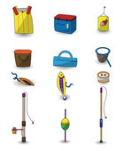 Cartoon Fishing icons set — Stock Vector