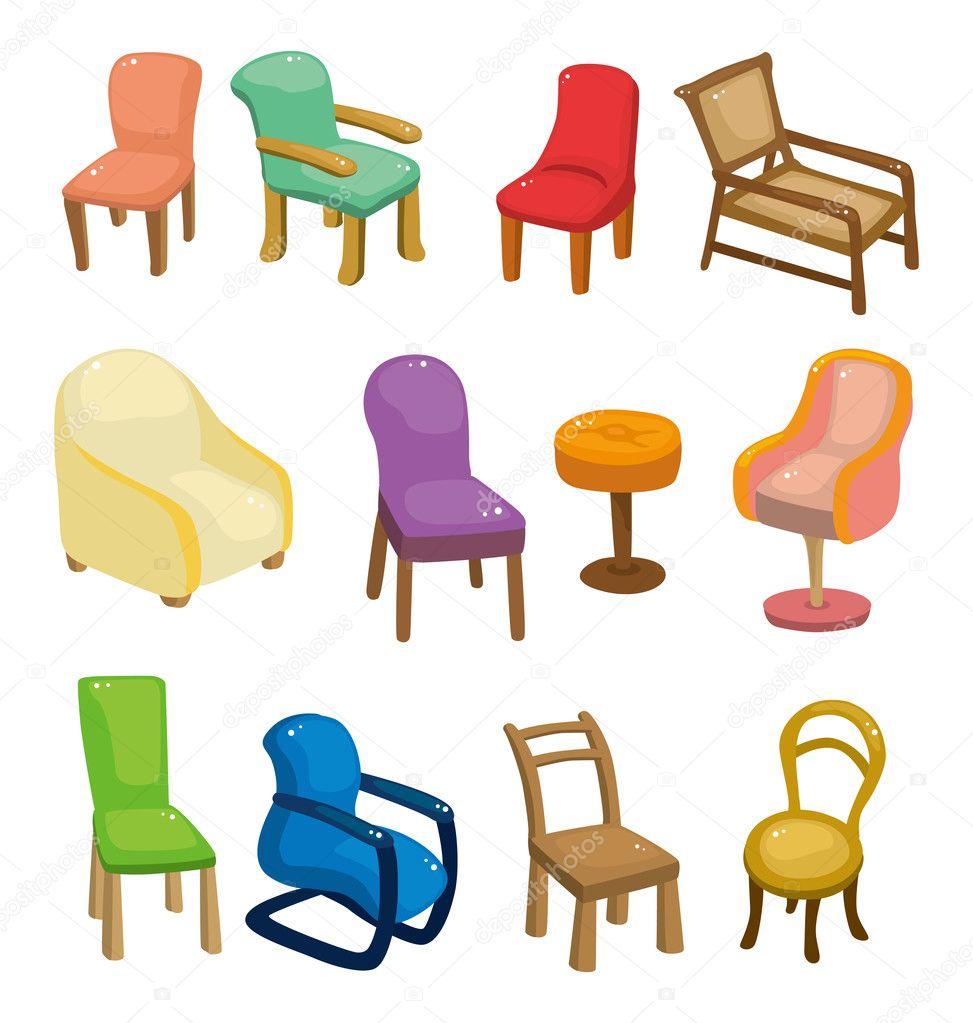 Conjunto de iconos de dibujos animados silla muebles for Dibujos de muebles