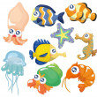 Vector de stock : Cartoon fish collection ,icon set