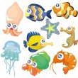 Cartoon fish collection ,icon set — Stock Vector