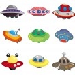 Cartoon ufo spaceship icon set — Stock Vector #8307327