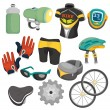 Cartoon bicycle equipment icon set — Stock Vector #8307328