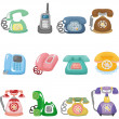 Funny retro cartoon phone icon set — Stock Vector