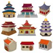 Stock Vector: Cartoon Chinese house icon set