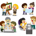Cartoon office worker icon set — Stock Vector #8307343
