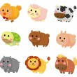 Cartoon animal icon set — Stock Vector #8307346