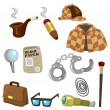 Cartoon detective equipment icon set — Stock Vector