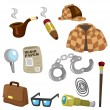 Cartoon detective equipment icon set - Stock Vector