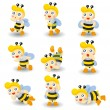 Royalty-Free Stock Vector Image: Cartoon bee boy icon set