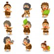 Cartoon Caveman icon set,vector — Stock Vector
