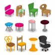 Cartoon chair furniture icon set - Stock Vector
