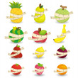 Set of fresh fruit and ruler health icon — Stock Vector #8307384