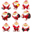 Cartoon santa claus Christmas icon set — Stock Vector