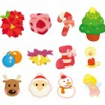 Cute cartoon Christmas element icon set — Stock Vector