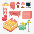 Cute cartoon furniture icon set — Stock Vector