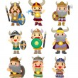 Cartoon Viking Pirate icon set — Stock Vector #8307398