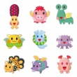 Cartoon Monsters icons set — Stock Vector