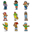 Cartoon hip hop boy dancing icon set — Stock Vector #8307404