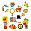 Cartoon happy circus show icons collection — Stock vektor #8307408