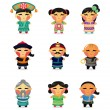 Cartoon Chinese icon set — Stock Vector