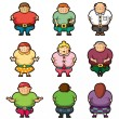 Vector de stock : Cartoon Fat icons