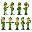 Cartoon Soldier icons set — Stock Vector