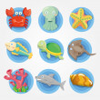 Cartoon Aquarium animal icons set ,fish icons - Stock Vector