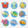 Cartoon Aquarium animal icons set ,fish icons — Stock Vector #8307443