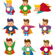 Cartoon superman icons - Stock Vector
