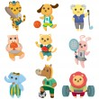 Cartoon animal sport player icons set - Stock Vector