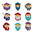 Cartoon Graduate students icons set — Stock Vector