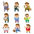 Cartoon office workers icon — Stock Vector