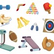 Stok Vektör: Cartoon Sports Equipment icons